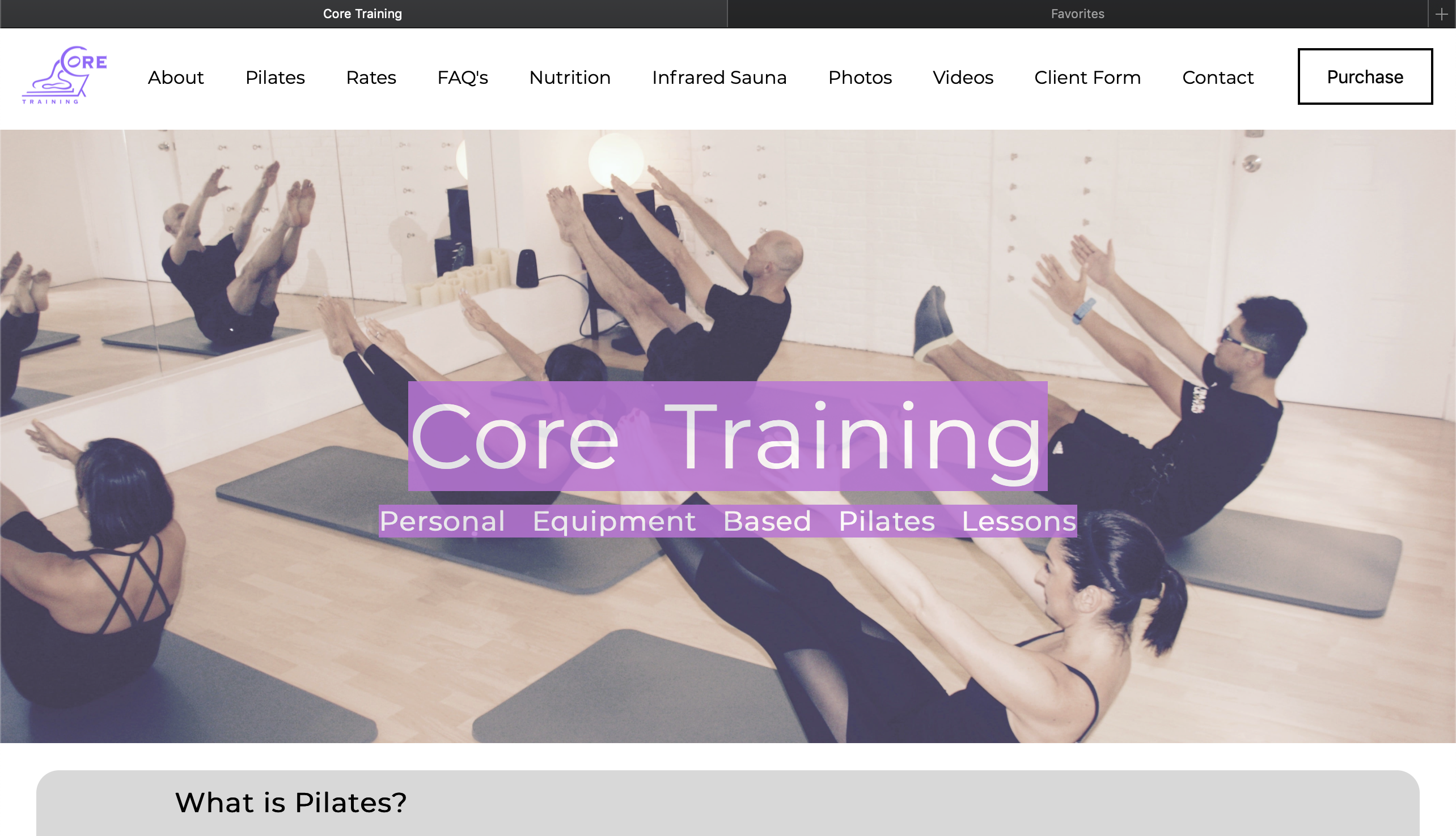 Core Training Website Home Page